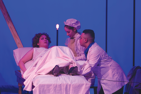 """Left to right, Albamar Seguinot, Giavannia Ramos and Vinnie Serionel perform """"In the Next Room, or the Vibrator Play.""""  Photo by David Silva/ The Et Cetera"""