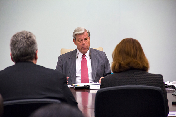Joe May, chancellor of the Dallas County Community College District, speaks to the Board of Trustees at a workshop meeting in March 2017. Photo by James Hartley/The Et Cetera