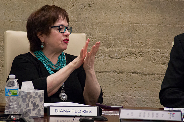Diana Flores, trustee for District 6, debates with other trustees at the March 2017 meeting. Photo by James Hartley/The Et Cetera