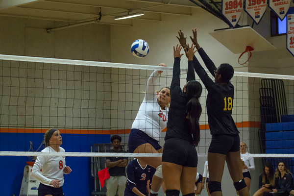 An Eastfield player spikes the ball. Photo by Jesus Ayala/The Et Cetera