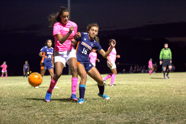 Forward Viviana Aguayo fights for the ball in Eastfield's Oct. 10 game against the Brookhaven Bears. The game was full of injuries and ended tied, 0-0. Photo by Yesenia Alvarado/The Et Cetera