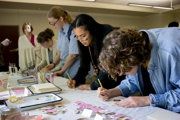 Artists demonstrate natural dye-making process