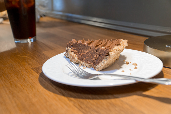 """The """"Smooth Operator"""" pie, which pairs sweet chocolates with a salty pretzel crust, is one of Emporium Pie's signature selections. Photo by Yesenia Alvarado/The Et Cetera"""