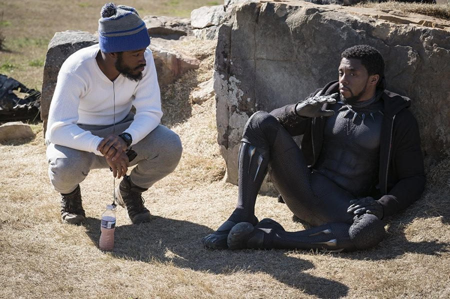 Director+Ryan+Coogler+and+star+Chadwick+Boseman+on+the+set+of+%E2%80%9CBlack+Panther.%E2%80%9D+Photo+courtesy+of+Walt+Disney+Pictures