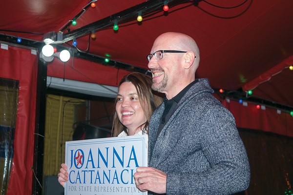 Joanna Cattanach poses with supporter and Dallas resident Clinton Swingle during her March 6 primary election watch party. Photo by Niels Winter/The Et Cetera