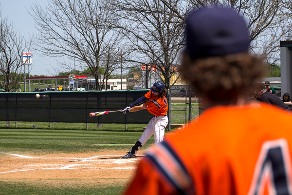 The nations RBI leader Jordan Parker hits a double versus the Brookhaven Bears on April 11. Photo by Jesus Ayala/The Et Cetera