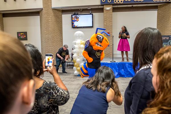 Faculty and students get a first look at the new mascot. Eastfield has revealed their new mascot during convocation, the mascot has not been named but will be announced during Home Coming Week. Photo by Jesus Ayala/The Et Cetera