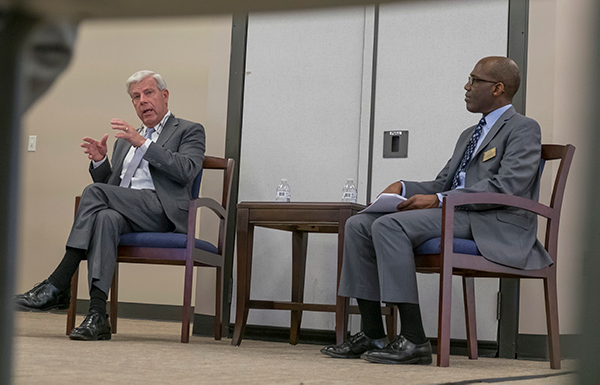Joe May, chancellor of the Dallas County Community College District, and Eastfield president Eddie Tealer discuss student-first initiatives Nov. 5, 2018. Photo by Jesus Ayala/The Et Cetera
