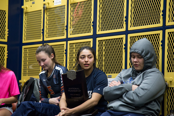 Sophomore libero Maura Munoz addresses the squad after their 3-2 loss in the national championship match. Eastfield placed second in the nation with that match. Photo by James Hartley/The Et Cetera
