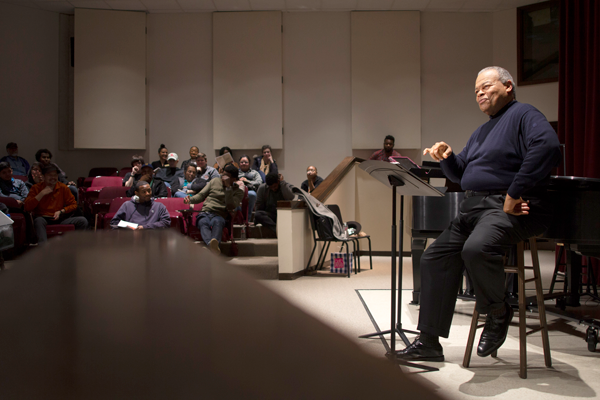 Grammy-award winner Donnie Ray Albert sang a handful of Langston Hughes poems for the black-history month-themed recital on
