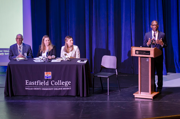 Eastfield employees had the opportunity to pose questions to the student-centric transformation team March 22 at a forum in the performance hall. Photo courtesy of Liliana Rodriguez/Eastfield College