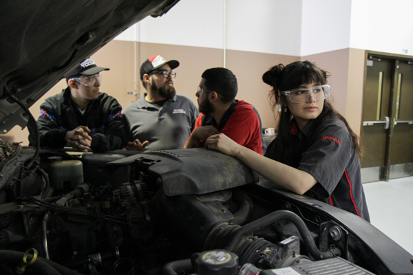 Automotive student Kathryn Jaeger said her passion for cars and fixing them started when she wanted to know what was going when she had car issues, now she's a part of Eastfield's automotive program. Photo by Anthony Lazon/The Et Cetera