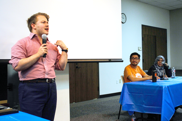 Johnny Boucher, Julio Acosta and Nahela Morales spoke about various human rights issues at Eastfield's first Human Rights Fair on April 10. Rory Moore/The Et Cetera