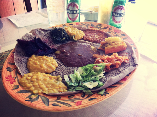 Lalibelas vegetarian combo is served on injera bread and goes for $19.00. Photo by Anthony Lazon/The Et Cetera