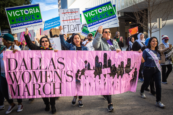 State Rep. Victoria Neave, far right, has been a lead organizer of the Dallas Women's March since its inception in 2017. Neave is the state representative for Mesquite, Garland and parts of East Dallas. Photo by Anthony Lazon/ The Et Cetera