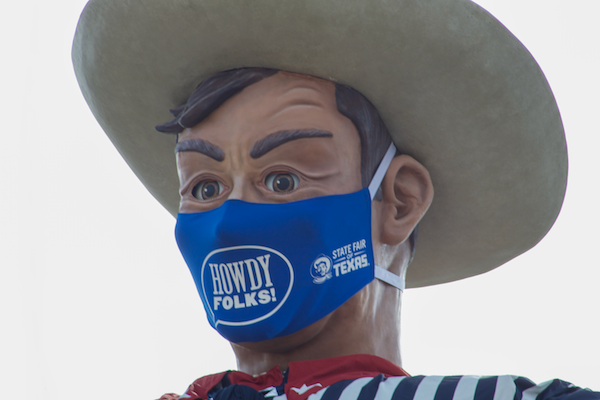 Big Tex's face mask is 84 inches by 45 inches. Photo by Marlenne Hernandez/The Et Cetera