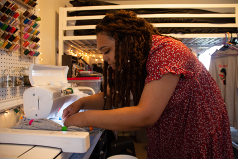 Myers-LeCroy Scholarship winner Alaysia Richardson runs her sewing business, A. Danae Designs, from her bedroom. Photo by Rory Moore/The Et Cetera