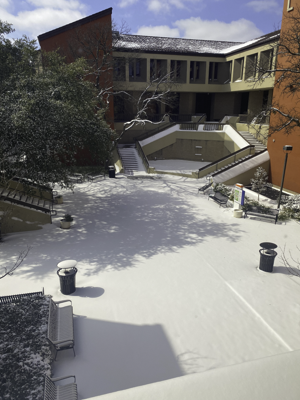 Eastfield College blanketed by snow on Feb. 15. The Dallas area received 4 inches.  Photo courtesy of James Foster