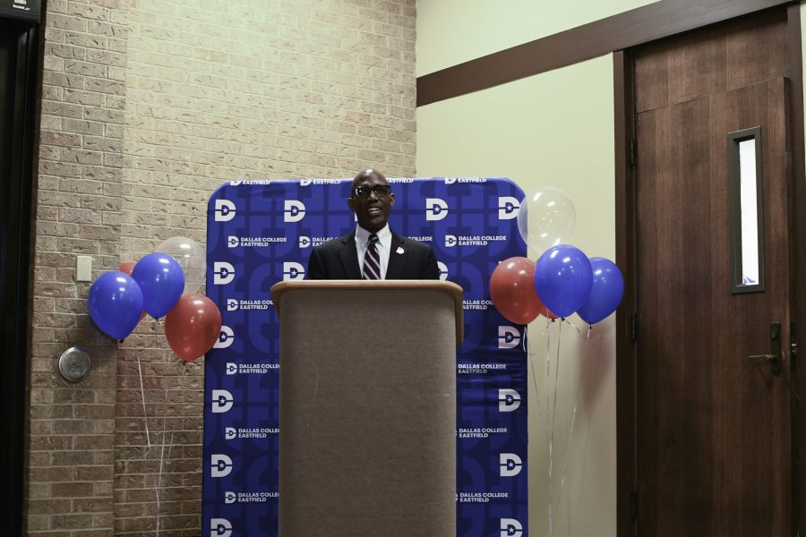 President Eddie Tealer addressed Dallas College Eastfield campus on July 12, 2021 about the food pantry program.  Tealer also shared with us how Dallas College is able to assist students with applying for Snap benefits.  Photo by Chantilette Franklin