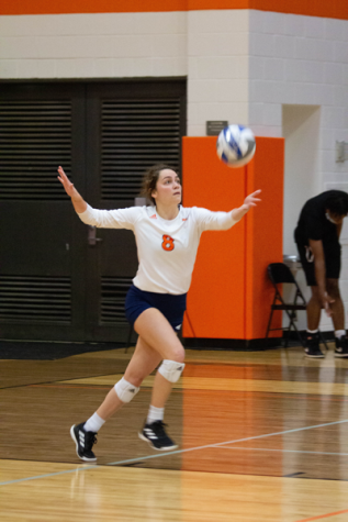 Allie Jones serves the ball against Cedar Valley on Sept. 30 where the Harvesters won 3-2. Photo by Rory Moore/The Et Cetera